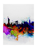 New York Watercolor Skyline 1 Póster por  NaxArt
