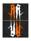 Orange and White Kiss Prints by Felix Podgurski
