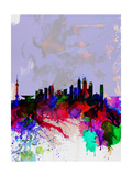Shanghai Watercolor Skyline Print by  NaxArt