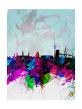 Hamburg Watercolor Skyline Prints by  NaxArt