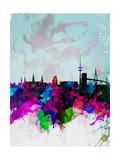 Hamburg Watercolor Skyline Prints by  NaxArt