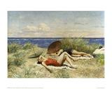 Sunbathing on the Dunes Reproduction procédé giclée par Paul Fischer