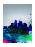 Kansas City Watercolor Skyline Print by  NaxArt