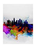 Los Angeles Watercolor Skyline 2 Print by  NaxArt