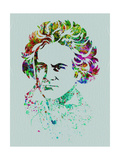 Beethoven Watercolor Poster by Anna Malkin
