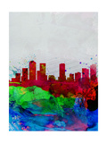 Denver Watercolor Skyline Prints by  NaxArt