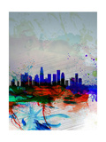 Los Angeles Watercolor Skyline 1 Prints by  NaxArt