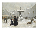 A Winter Day in Gammeltorv, Copenhagen Giclee Print by Paul Fischer