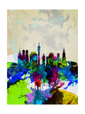 Munich Watercolor Skyline Prints by  NaxArt