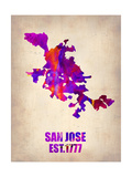 San Jose Watercolor Map Print by  NaxArt