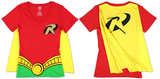 Women's: Robin - V-Neck Costume Tee with Cape Dames-T-shirts met V-hals