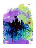 Seattle Watercolor Skyline 1 Lámina por NaxArt