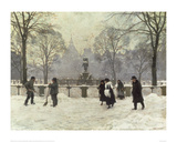Snow Scene in the Kongens Nytorv, Copenhagen Giclee Print by Paul Fischer