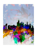 Copenhagen Watercolor Skyline Prints by  NaxArt