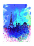 Paris Watercolor Skyline Posters par  NaxArt