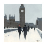 Big Ben, Red Beret And Snow Giclee Print by Jon Barker