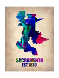 Sacramento Watercolor Map Prints by  NaxArt