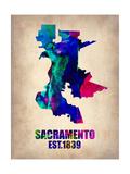 Sacramento Watercolor Map Prints by  NaxArt