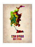 San Diego Watercolor Map Posters by  NaxArt