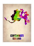 Cincinnati Watercolor Map Poster by  NaxArt