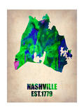 Nashville Watercolor Map Print by  NaxArt