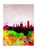 Barcelona Watercolor Skyline Pôsters por  NaxArt