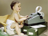 1960s Smiling Accountant Baby Wearing Cloth Diaper Sitting in Chair Using Adding Machine Photographic Print by H. Armstrong Roberts