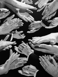 1950s Montage of Many Man and Woman Hands Clapping Papier Photo par H. Armstrong Roberts