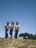 Boys 2 African-American 1 Caucasian Walking Together from School Photographic Print by D. Corson