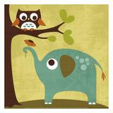 Ugle og elefant Plakater af Nancy Lee