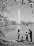 Family Mother Father Two Boys in Washington DC Looking at Washington Monument Amid Cherry Blossoms Photographic Print by H. Armstrong Roberts