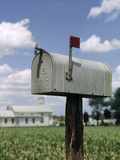 Rural Delivery Us Mail Mailbox with Red Flag Up Photographic Print by D. Corson