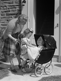 1940s Mother and Daughter with Doll in Stroller Photographic Print by H. Armstrong Roberts