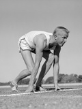 1960s Man Sprinter Runner at the Starting Line for Foot Race Outdoor Photographic Print by H. Armstrong Roberts