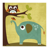Owl and Elephant Posters by Nancy Lee