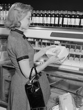 Blond Woman Selecting Ice Cream Frozen Food Section Supermarket Photographic Print by H. Armstrong Roberts