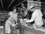 1960s Mother Daughter Unload Grocery Cart at Supermarket Checkout Counter Photographic Print by H. Armstrong Roberts