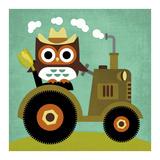 Owl on Tractor Plakaty autor Nancy Lee