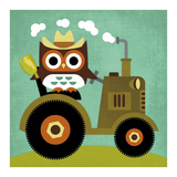 Owl on Tractor Poster von Nancy Lee