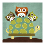 Three Owls on Turtle Prints by Nancy Lee