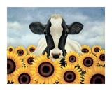 Von Sonnenblumen umgeben Poster von Lowell Herrero