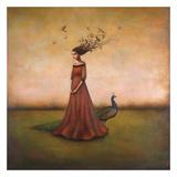 Empty Nest Invocation - L'invocation du nid abandonné : femme au paon Art par Duy Huynh