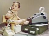 1960s Business Baby Sitting in Chair Holding Telephone with Calculator Adding Machine Photographic Print by H. Armstrong Roberts