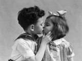 1930s Two Children Young Boy and Girl Kissing Photographic Print by H. Armstrong Roberts