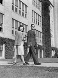 College Couple Walking on Campus before Ivy Covered Building Photographic Print by H. Armstrong Roberts