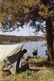 1950s Grand Teton National Park Wyoming Two Children in Tent Looking at Deer by Lake Photographic Print by D. Corson