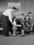 Family Living Room Woman Mother Getting Surprise Gift from Children Daughter Son Husband Photographic Print by H. Armstrong Roberts