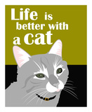 Life is Better with a Cat Reprodukcje autor Ginger Oliphant