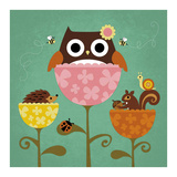 Owl, Squirrel and Hedgehog in Flowers Posters by Nancy Lee