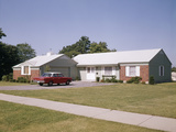 Suburban Brick Home with Car Driveway Near Dayton Ohio Photographic Print by D. Corson